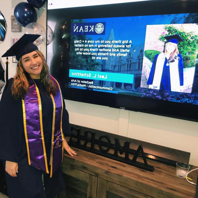 Kean grad 2020 with video screen