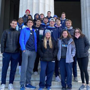 Kean volleyball players in Washington D.C.